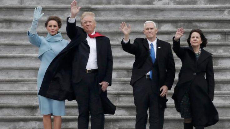 Der Trump-Tag in Washington – es regnete und stürmte: First Lady Melania, Donald Trump, Vizepräsident Mike Pence und dessen Ehefrau Karen