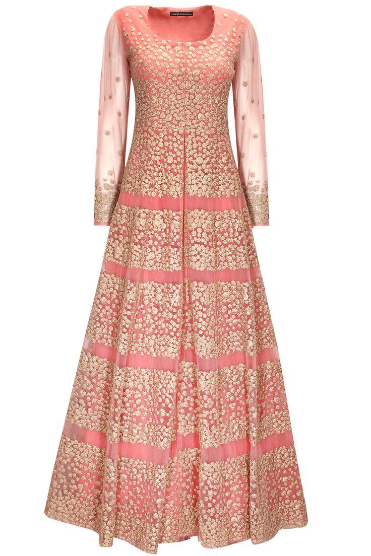 Rose pink embroidered anarkali set by Aneesh Agarwaal. Shop now: http://www.perniaspopupshop.com/designers/aneesh-agarwaal #shopnow #perniaspopupshop #aneeshagarwaal
