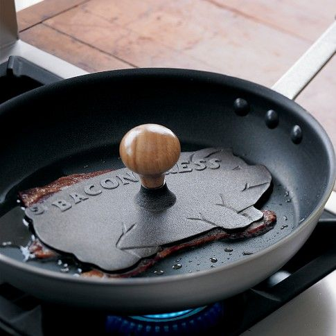 I often wanted something like this, for bacon, or pork chops from curling up..