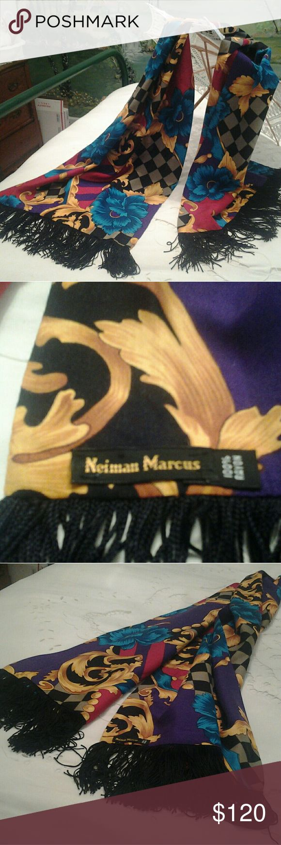NEIMAN MARCUS BEAUTIFUL MULTI-COLORED SCARF I HAVE A VERY ELEGANT AND BEAUTIFUL NEIMAN MARCUS, 100 % RAYON MULTI-COLORED SCARF FOR SALE.   IT IS IN EXCELLANT CONDITION, LOOKS LIKE NEW.   IT COULD BE WORN BY MALE OR FEMALE.  THE COLORS ARE VERY VIBRANT, RED, PURPLE, BLACK, GREY , BLUES  WITH GOLD LEAF DESIGNS.     THE MEASUREMENTS ARE 15 INCHES WIDE AND 58 INCHES LONG, IT HAS BLACK FRINGE  THAT IS 3 1/2 INCHES LONG.  IF YOU HAVE ANY QUESTIONS ABOUT THIS BEAUTIFUL SCARF, PLEASE ASK. NEIMAN…
