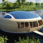 Maison avec panneau solaire sur le toit
