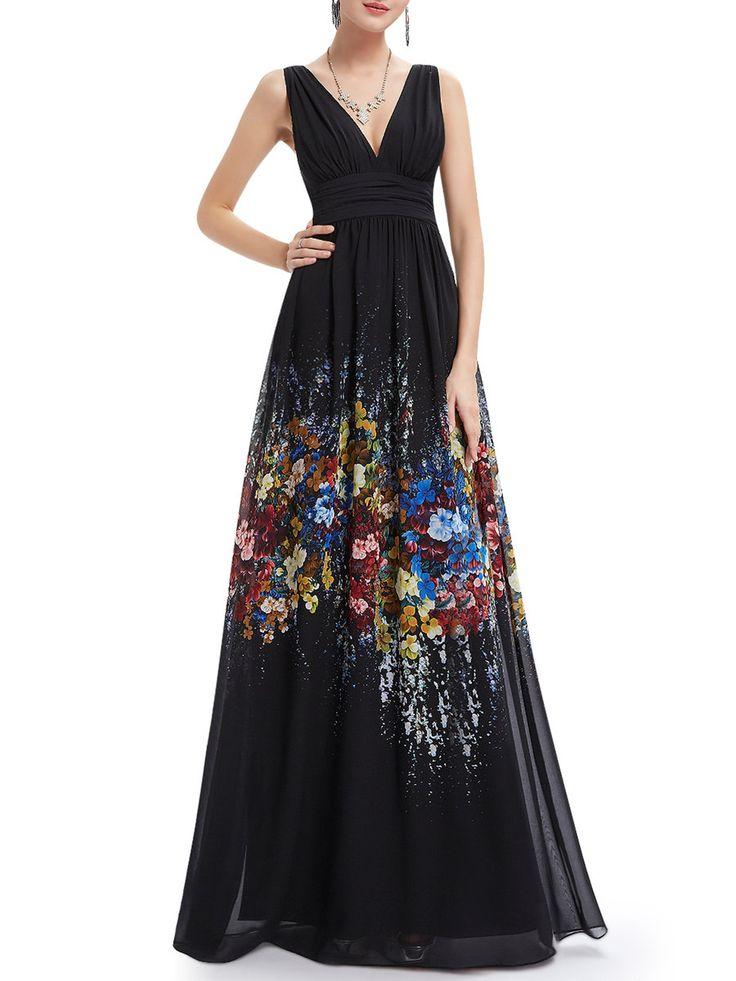 #AdoreWe #StyleWe Designer Maxi Dresses - Designer CICI WANG Black Chiffon Plunging Neck Floral-print Evening Dress - AdoreWe.com