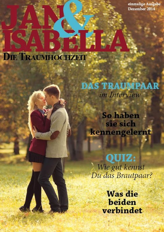 So eine Hochzeitszeitung ist einen super originelle Idee, um dem verliebten Brautpaar an ihrem tag zu schenken. www.jilster.de