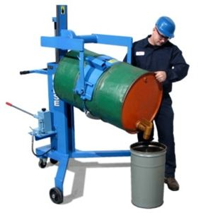 Drum Palletizers that pour allow you to move drums on and off pallets and drum dollies, as well as manually tilt the drum to pour at up to 26' high without the safety risks of manhandling heavy drums. Order online or call (877) 742-5190 for a quote.