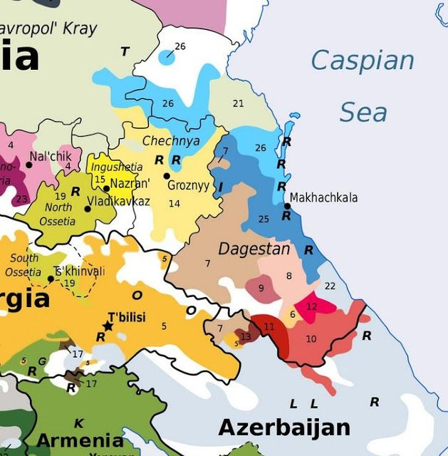 The sky blue in the north, number 26, represents the Nogay, the darker blue, 25, represents the Kumyk, the very pale blue on the coast in the south, number 22, represents the Azeri. These all speak Turkic languages. The pale green in the north, number  21, represents the Russians, there is also a very small Tat enclave in the south of Dagestan . These speak Indo-European languages. The rest of the peoples shown on the map speak languages of the Dagestan or East Caucasian language family…