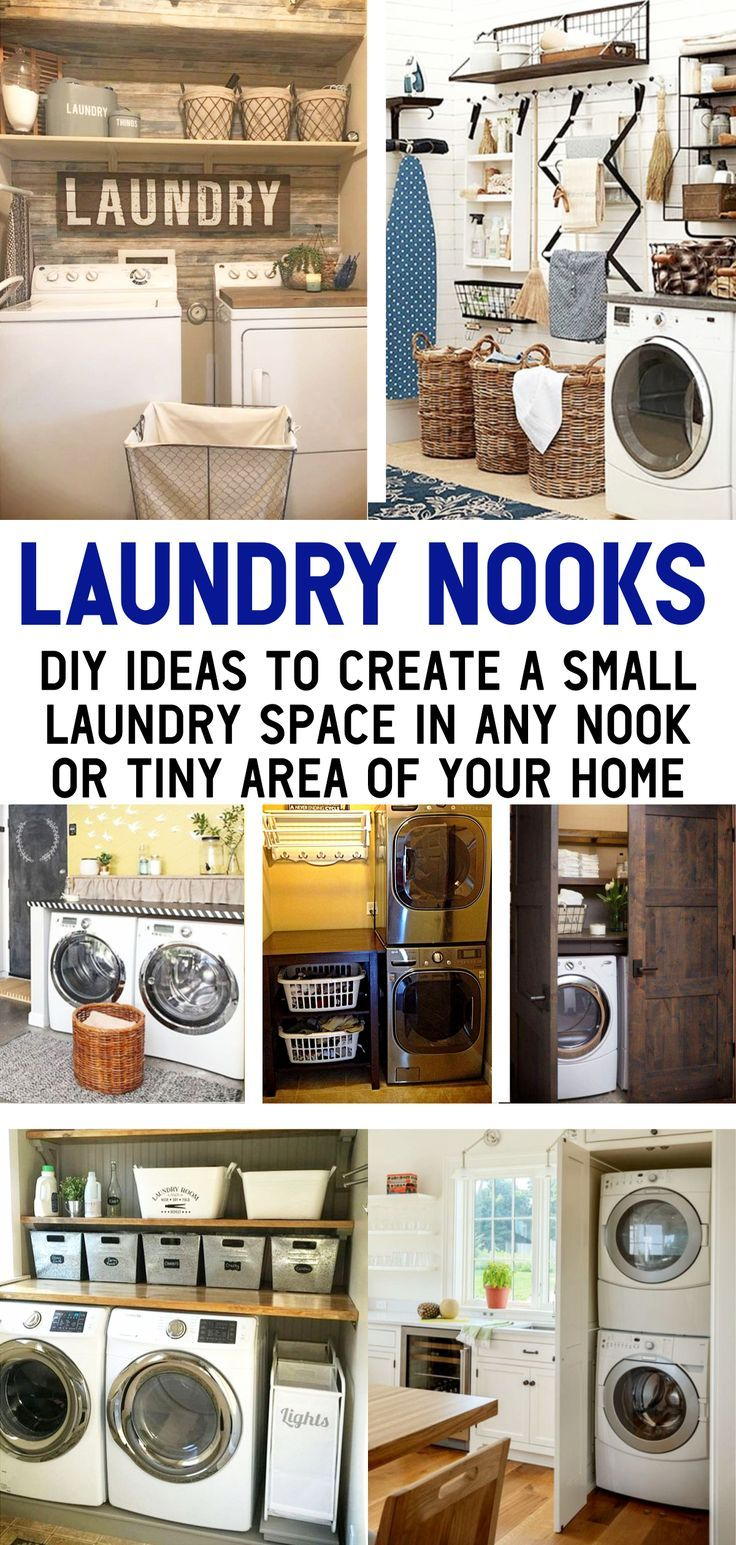 Laundry Nook Ideas We Love Clever Diy Ideas In 2020 Laundry Nook Small Laundry Small Laundry Rooms