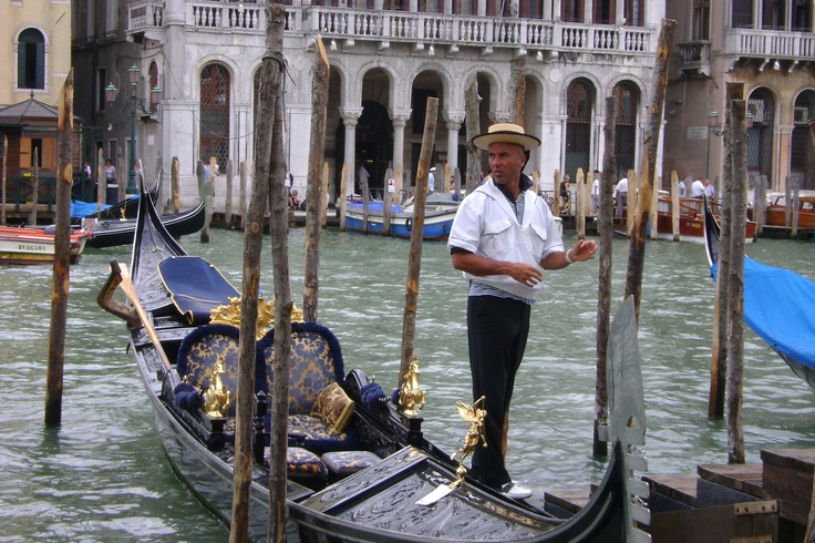gondola and gondolier. Venice Italy