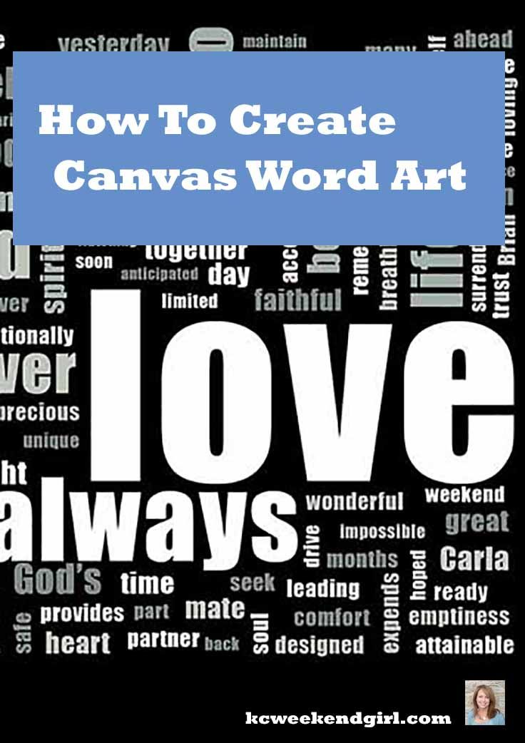 How to create a word art and have it printed on a canvas. Makes a great gift for that hard to shop for person.  www.kcweekendgirl.com/diy-canvas-word-art/