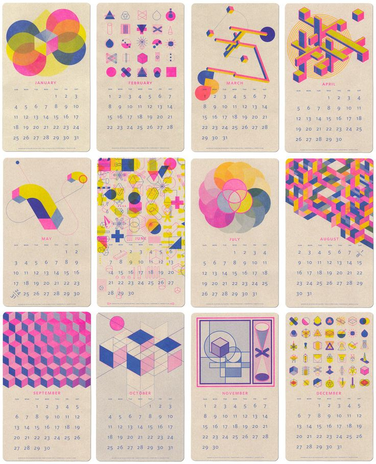 2015 Isometric Risograph Calendar - the design is beautiful and risograph printing technique is a plus!