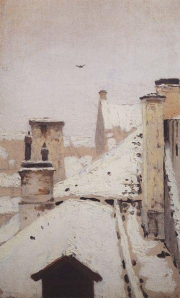 English: Roofs. Winter (painting by Arkhip Kuindzhi, 1872) Русский: Крыши. Зима (картина Архипа Куинджи, 1876) Дата1876 Источникhttp://kui...