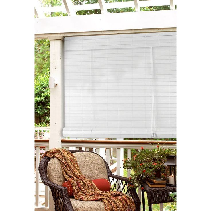 White Faux Bamboo Outdoor Roll Up Patio Shade   Overstock™ Shopping   Great  Deals On Blinds U0026 Shades