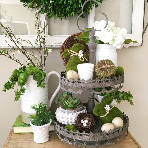 Tiered Tray- Green Spring Decor