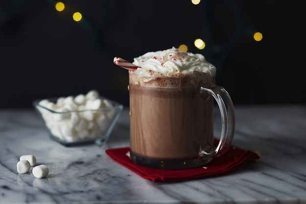 Every dessert is better with a cocktail! Pair your desserts with a perfect Smirnoff Peppermint Hot Chocolate. | 13 Holiday Desserts That Aren't Gingerbread