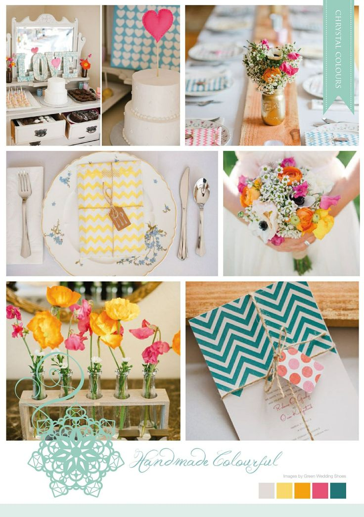 Quirky Summer mood board made by Chrystalace Wedding Stationery.