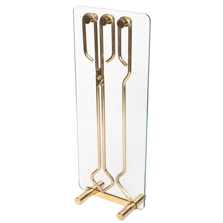 Scandinavian Modern Fire Tool Set in Solid Brass on Polished Glass Stand | From a unique collection of antique and modern fireplace tools and chimney pots at https://www.1stdibs.com/furniture/building-garden/fireplace-tools-chimney-pots/