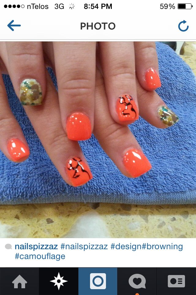 Orange browning and camo nails - Best 25+ Browning Camo Nails Ideas On Pinterest Camo Nails