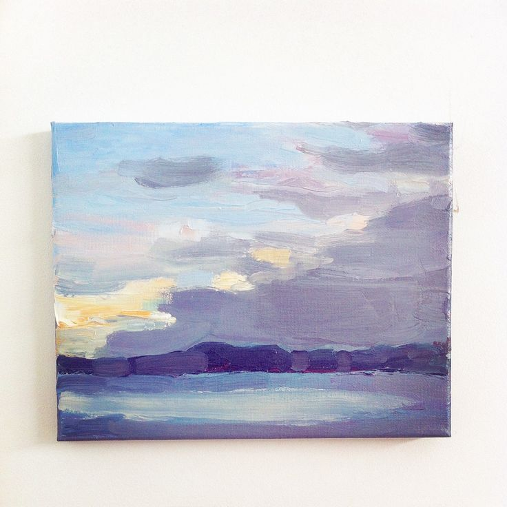 Looking across the Lake Imagining Tomorrow Oil on Canvas 2015  Karen Hook $370 Framed 23x28cm