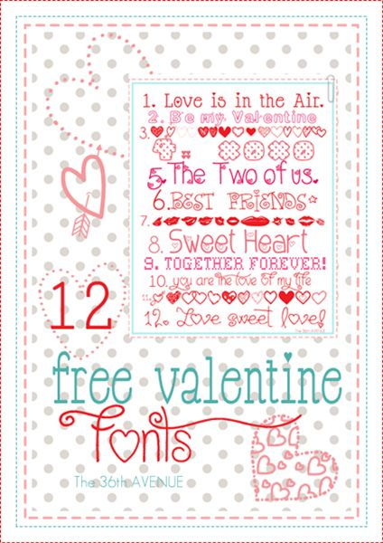 12 Free Valentine Fonts at the36thavenue.com