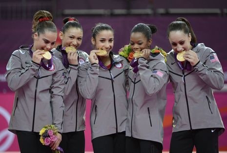 Golden Girls - USA gymnasts (left to right) McKayla Maroney - Kyla Ross - Alexandra Raisman - Gabrielle Douglas - Jordyn Weiber celebrate with their gold medals after the women's team gymnastics final during the London 2012 Olympic Games at North Greenwich Arena.: 2012 Olympics, Gold Medal, Usa Gymnastics, Kyla Ross, Mckayla Maroney, Golden Girls, Gymnastics Team, Women Gymnastics, Team Usa