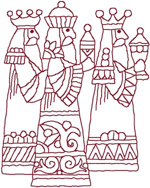 Machine Embroidery Design: Redwork Three Wise Men
