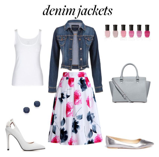 """Denim jacket with floral skirt"" by borbalastyle on Polyvore featuring Relaxfeel, maurices, Kate Spade, Michael Kors, Deborah Lippmann and Sam Edelman"