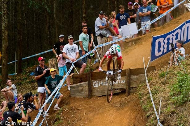 Burry Stander takes one of the steep drops on his way to winning the UCI World Cup XC race in South Africa