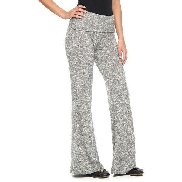 Women's Juicy Couture Marled Flare Pants featuring polyvore women's fashion clothing pants grey elastic waist pants flare trousers wide leg flare pants flared pants wide-leg pants