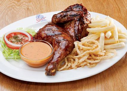 Grilled Half Chicken. Your choice of Spur Basting, Durky or peri-peri sauce at Spur Steak Ranches | http://www.spur.co.za/menu/chicken-schnitzel-seafood