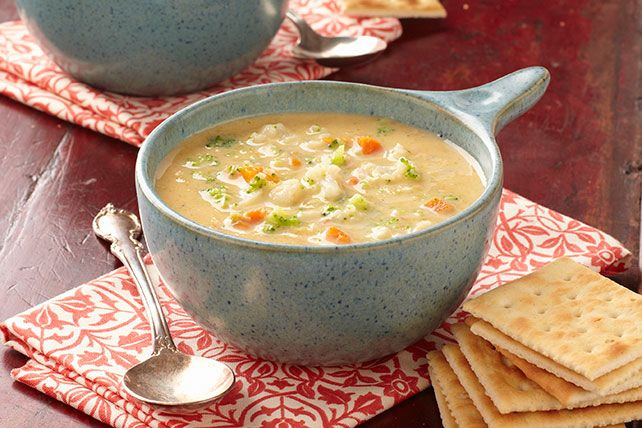 Enjoy this cheesy vegetable soup that's as easy as it is velvety. This vegetable soup uses prepared broth, a package of frozen veggies, & cubed VELVEETA.