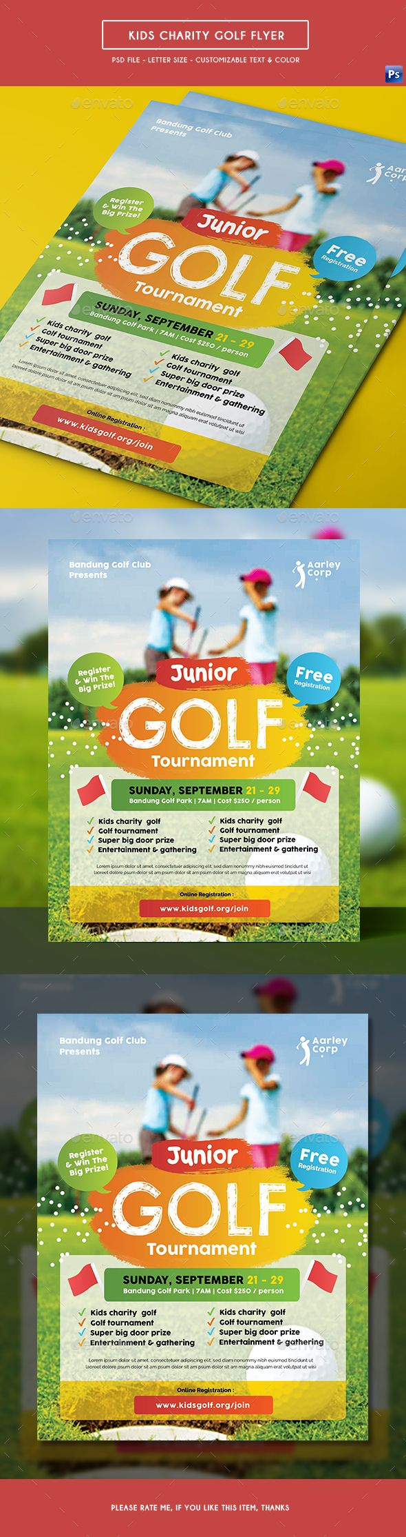 Kids Charity Golf #Flyer - Sports Events Download here: https://graphicriver.net/item/kids-charity-golf-flyer/19610897?ref=alena994