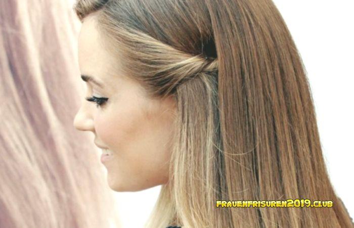 Blond Frauen Frisuren 2019 Lange Glatte Haar Seitlich Geflochten