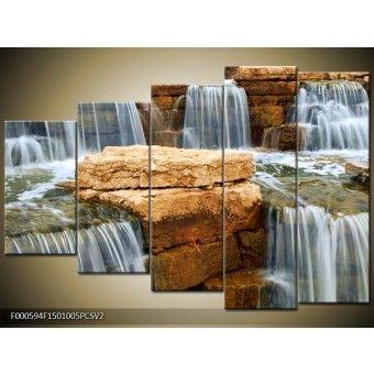 Csobogó vízesés vászonkép 150 x 100 cm 5 részes V2