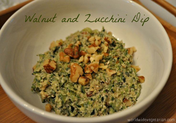 This walnut zucchini dip is to die for, it's creamy, crunchy, hearty, and full of flavor. Vegan and Gluten Free! / http://www.worldwidevegetarian.com