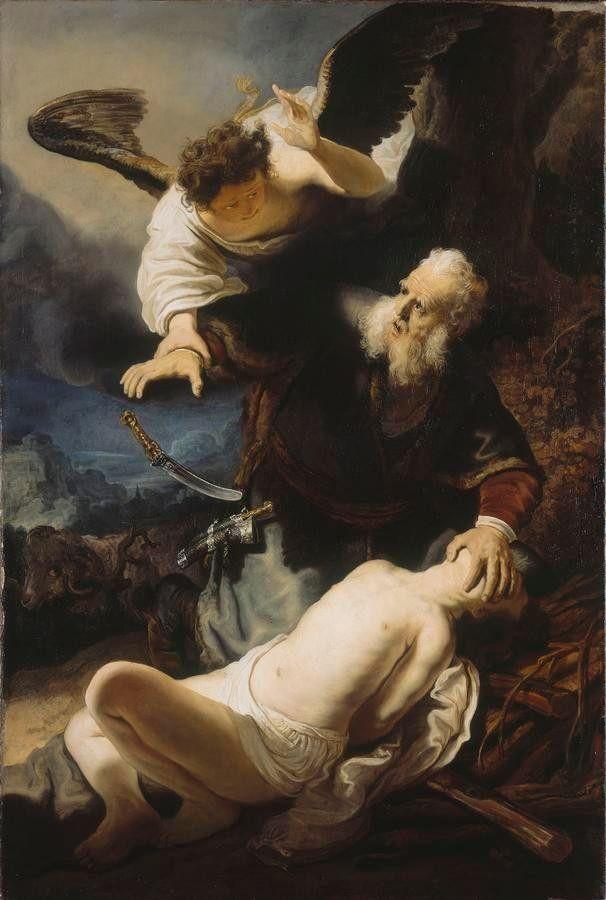 The Angel Prevents the Sacrifice of Isaac (Rembrandt van Rijn, 1636, Alte Pinakothek, München)