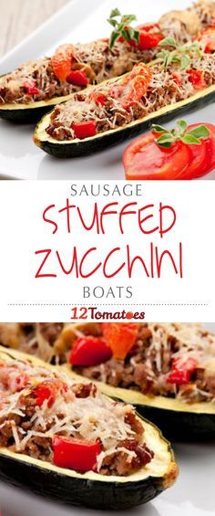 Sausage-Stuffed Zucchini | Not into sausage? Try ground chicken, ground beef, or even veggie crumbles – in fact, you could skip the meat all together and simply top the zucchini with other veggies and cheese.