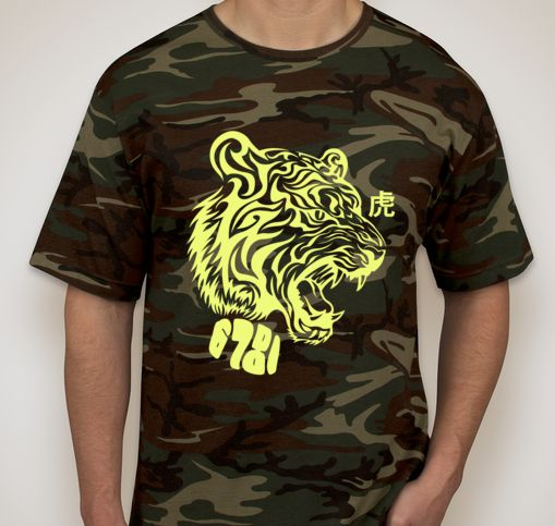 """A clever disguise. Cammo with neon green tiger, 6781 logo and """"tiger"""" in Kanji. Rawr."""