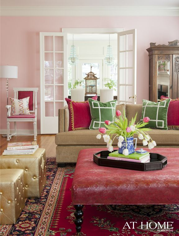 great colors!: Wall Colors, Living Rooms, Girls Bedrooms, Soft Pink, Paintings Colors, Pink Rooms, Interiors Design, Pink Wall, Eclectic Living Room