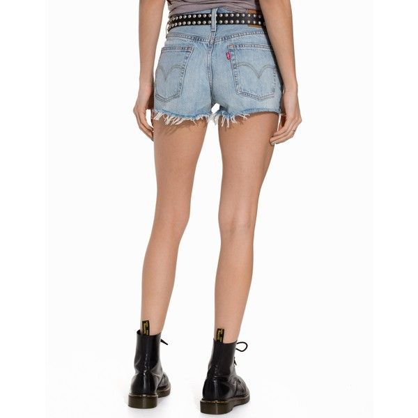 Levis 501 Shorts (610 SEK) ❤ liked on Polyvore featuring shorts, embellished shorts, embellished jean shorts, embellished denim shorts, denim shorts and jean shorts