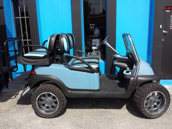 2012 SKY BLUE SPORT CAR PRECEDENT 48 VOLT GOLF CART WITH HIGH SPEED CODE 19.4 MPH  *NEW MAX 5 REAR SEAT (With built in cooler and foldable foot rest) *NEW 4'' A-ARM *NEW 14'' RIMS AND ALL TERRAIN TIRES *NEW JAKES SPORT WINDSHIELD *NEW HEADLIGHTS & TAIL LIGHTS *NEW SKY BLUE BODY *NEW BLACK AND BLUE CUSTOM SEATS *INSPECTED TOP TO BOTTOM *NEW CUSTOM STORAGE DASH  READY FOR A NEW HOME. PRICED TO SELL AT $6999  CUSTOM CART CONNECTION 1708 S. Congress Ave. West Palm Beach, FL 33406