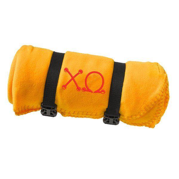 Chi Omega Fleece Blanket - Port and Company BP10 - EMB