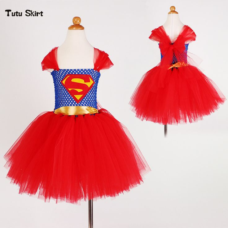 Superman Batgirl Girls Tutu Dress Baby Cosplay Costumes Girl Kids Dress Knee Length Fluffy Birthday Halloween Party Girls Dress