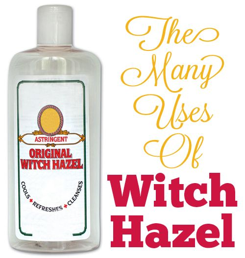 The Many Uses of Witch Hazel : Facial Cleansing, Acne Treatment, Scars & Stretch Marks, Soothe Diaper Rash, Bags Under The Eyes, Varicose Veins, Soothe Chicken Pox Blisters, Heal Bruises Faster, Heal Cuts and Scrapes, Soothe Razor Burn, Treat Sunburn, Treat Dry Skin, Soothe Tired, Puffy Eyes, Natural Deodorant, Sore Gums, Sore Throat, Laryngitis, Cold Sores, Scalp Deep Cleanse, Bug Bites, Poison Ivy and Poison Oak, Cleaning Dogs Ears, Tick Extraction, Household Cleaner, Jewelry Cleaner, etc!