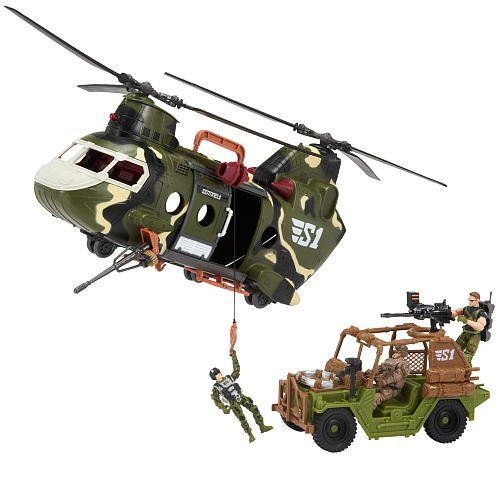 True Heroes Sentinel 1 Playset - Freedom Force Helicopter. Camo chopper features a cargo bay, a working winch, two spinning propellers and sliding doors. Dune buggy fits inside the helicopter and offers movable weapon turrets to take down the enemy. Multiple points of articulation on the three solider figures allow for realistic battle poses. Includes plenty of weapons and gear to get the mission started.