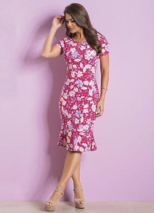 8bedbf517b Vestido Midi Manga Curta Floral Moda Evangélica - Rosalie