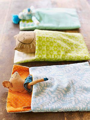 Sleeping Bag for Stuffed Animals: Stitch up the perfect haven for a favorite stuffed animal. If your kids have outgrown their flannel pj's, this is a great way to upcycle them!