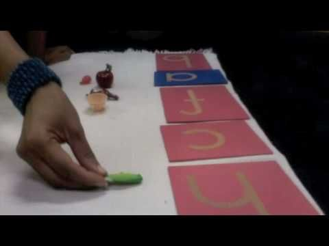 Preschool Montessori Language Activities - Matching Sand Paper Letters with objects