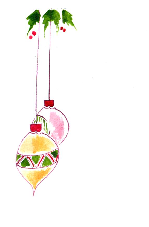 Cij Handpainted Greeting Card Ornaments Seasons Greetings