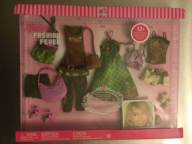 NRFB Barbie Fashion Fever 2006 Designed by Hilary Duff - Green & Brown 12+ Items #Mattel #DollClothingAccessories