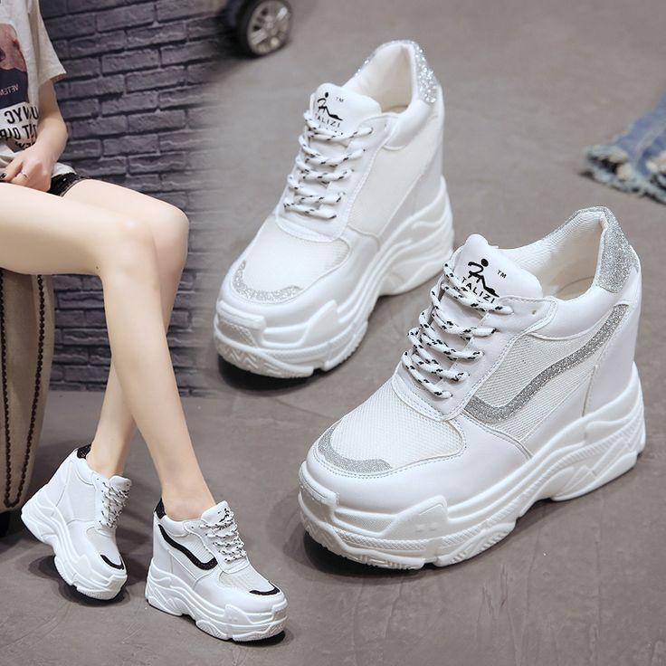 Fashion Wanita Wedge Sneakers Bernapas Berjalan Sepatu ...