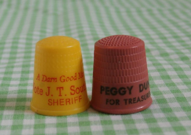 Vote Vintage Plastic Political Advertising Collectible Sewing Notions, Treasurer and Sheriff http://etsy.me/2nCjcWs #supplies #crossstitch #black #thimble #teamwwes #thimbles #thimblegallery #kitsch #shopping #etsyshopping #forsale #etsysells #thibmlesforsale #4sale